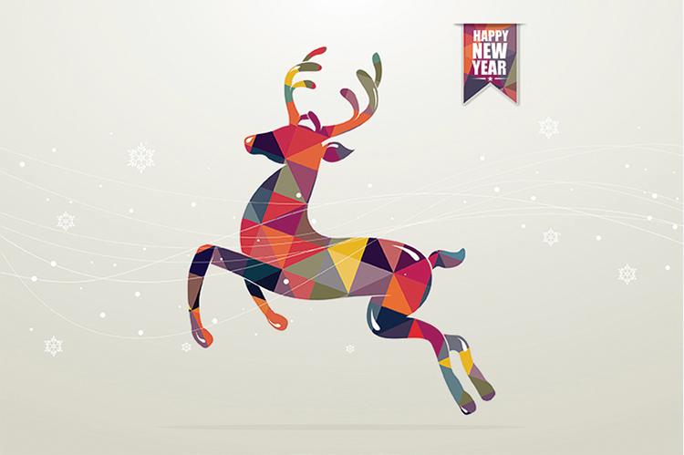 1612 - Happy New Deer Branded Christmas Card
