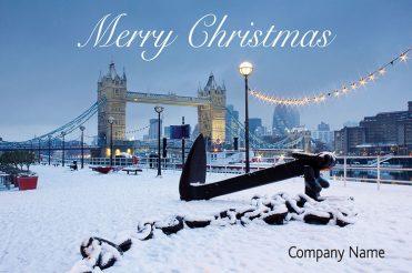 1638 - Snowy Tower Bridge Branded Christmas Card