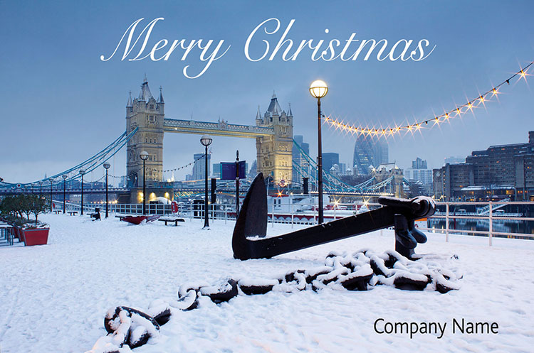 1638 - Snowy Tower Bridge Branded Christmas Card
