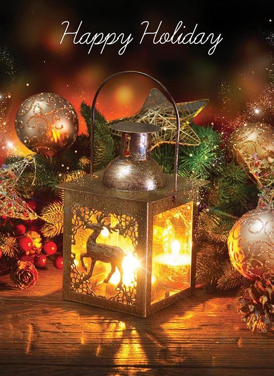 1688 - Reindeer Lantern Branded Christmas Card